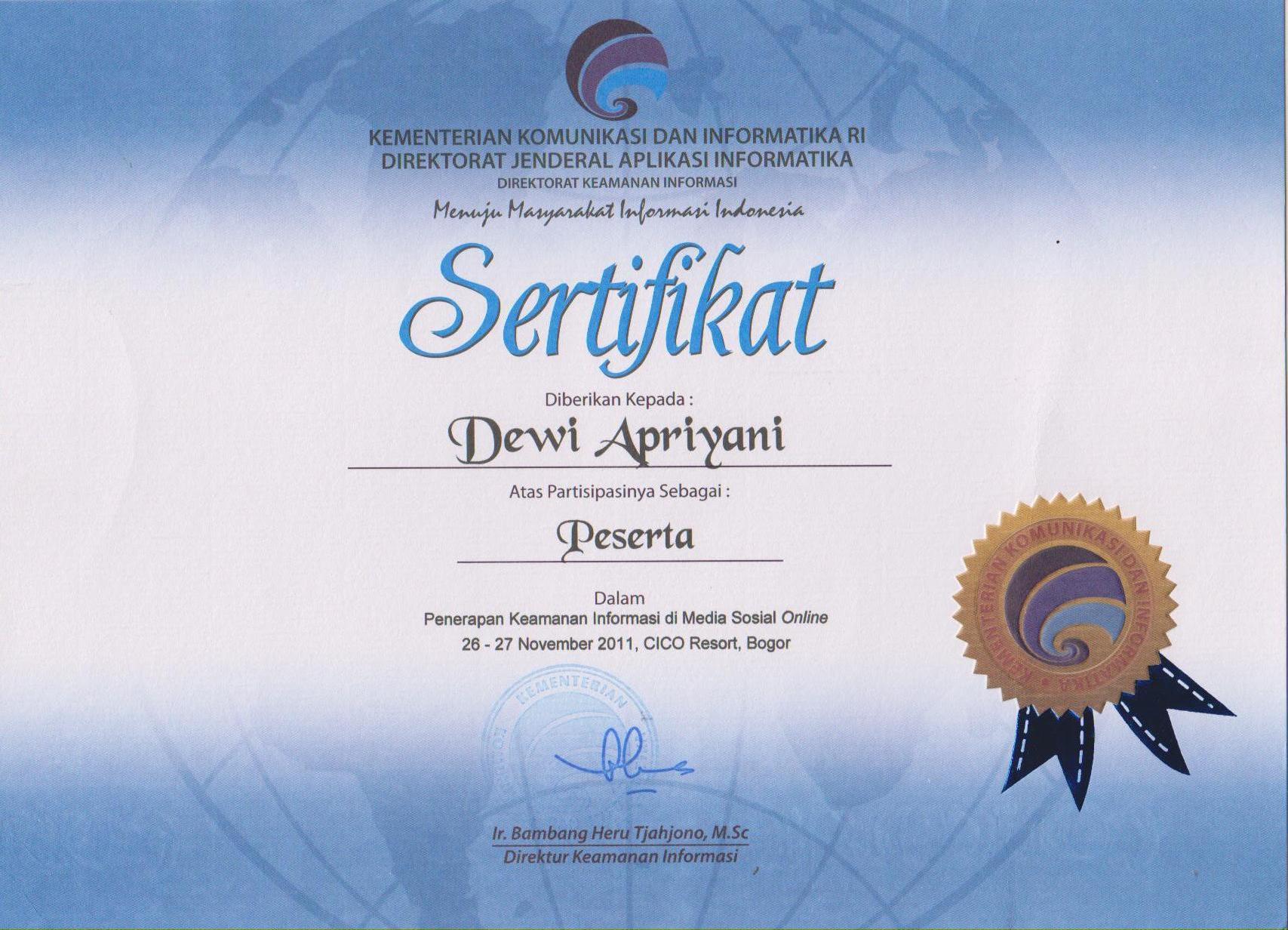 Sertifikat Mengikuti Seminar dan Workshop | dewiuwie